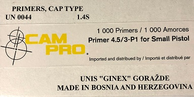 Cam Pro Small Pistol Primers(1000)qt